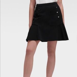 DKNY BLACK PEPLUM FLARE HIGH WAIST MINI SKIRT